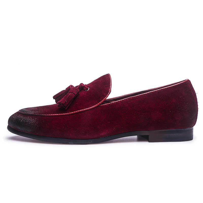 2d9ef02624 ... 2019 Vintage Style Faux Suede Men Tassel Loafers Slip-on Men Flats Plus  Size EU37 ...