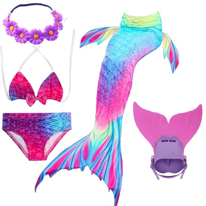 girl kids cosplay swimmable mermaid tails costumes swimming mermaid tail with monofin flipper bikini adult for children swimsuit