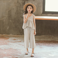 2018 Super Fashion Mom Girls Summer Casual Clothing Set Sling T shirt+ Wide Leg Pant Matching Outfits Family Clothes Set CA044
