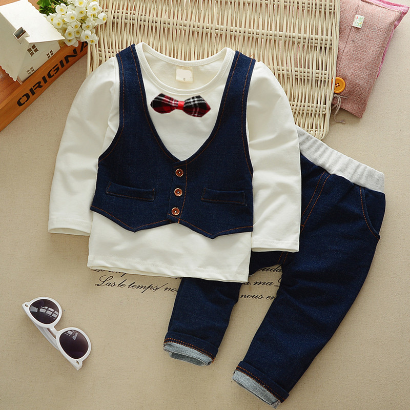 Kids formal Clothes Suits Summer Autumn Cotton Baby Boys Clothing Sets Children vest fake two jacket tops+ Jean Pants B0324