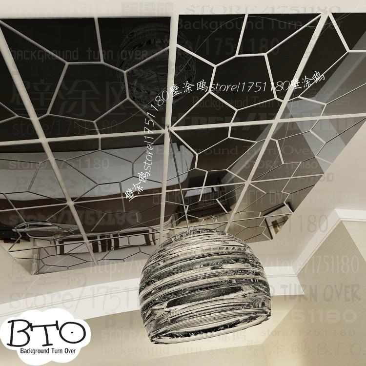 Hot selling crystal shape abstract 3d spiegel muurstickers slaapkamer woonkamer sofa muurtattoo interieur kapsalon decor R238 - 2