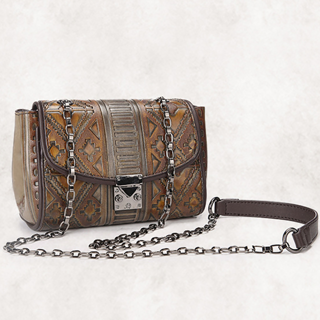 2017 New Women Pvc Chain Sling Shoulder Bag Vintage Trend Embossed Las Satchel Designer Casual Small