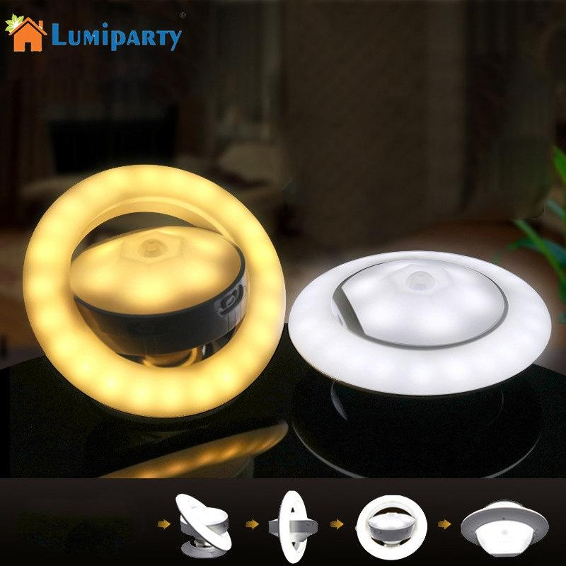 LumiParty Motion Sensor Night Light, 360 Rotating UFO Shape Step Light, LED USB Rechargeable Wall Lamp jk30 white rotating rechargeable led talbe lamp usb micro charging eye protection night light dimmerable bedsides luminaria de mesa