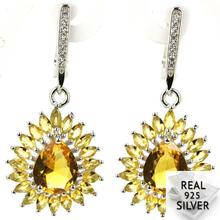 Real 6.4g 925 Solid Sterling Silver Deluxe Golden Citrine White CZ Wedding Ladies Earrings 38x18mm