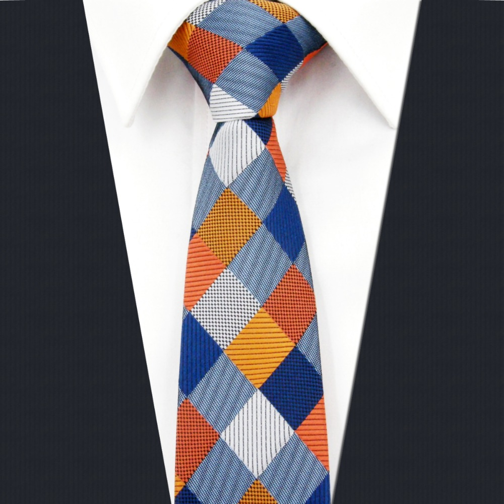 SZ17 Checked Multicolor Mens Skinny Necktie100% Silk Jacquard Woven Gift For Men Fashion Slim Necktie Groom