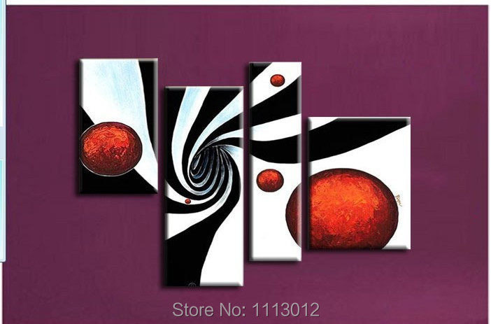 New Black White Sun Line Landscape Flower Oil Painting On Canvas Abstract 4 Panel Sets Home Wall Arts Decor For Living Room Sale