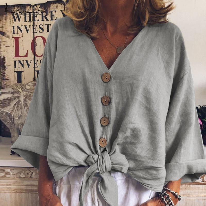 2020 Summer Fashion Blouse ZANZEA Women Long Sleeve Shirt Casual Cotton Linen Tops Sexy V Neck Buttons Down Knot Tunic Plus Size(China)