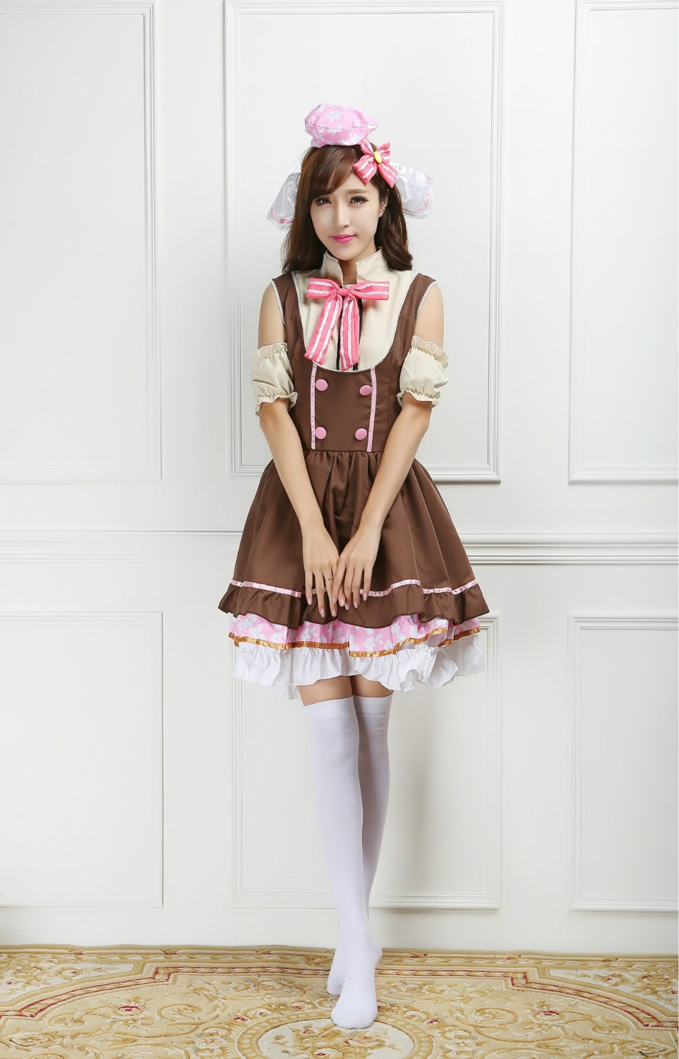Love Live Sweet Pink Bow Girls Cosplay Costume Kawaii