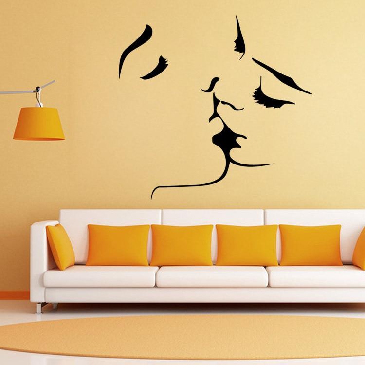 Creative Personality Black Kiss Viny Wall Stickers Living Room ...