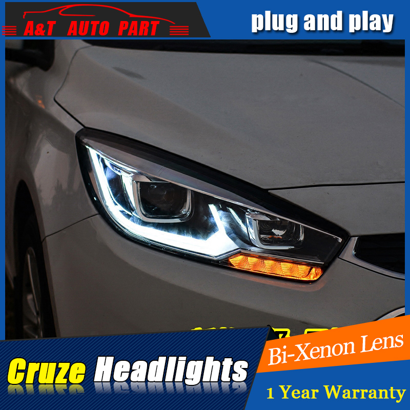 Car Styling For Chevrolet Cruze headlight assembly For Cruze LED head lamp Angel eye led front light H7 with hid kit 2 pcs. new arrival canbus p6 car led head lamp conversion kit bulb 4500lm 2 9000lm led headlight super bright 45w 2 90w car styling