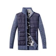 WENYUJH 2018 New Men Thick Sweater Coat Male Autumn Winter Down Sweatercoat Black Blue Gray Zipper Sweater Jacket Outerwear 3XL
