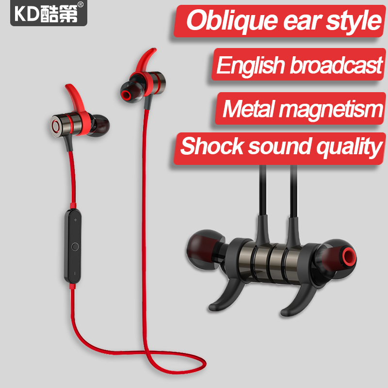 KD brand Wireless Sports Running Bass stereo Magnetic HIFI Microphone Music Bluetooth Earphones Headset For iphone Huawei XiaoMi