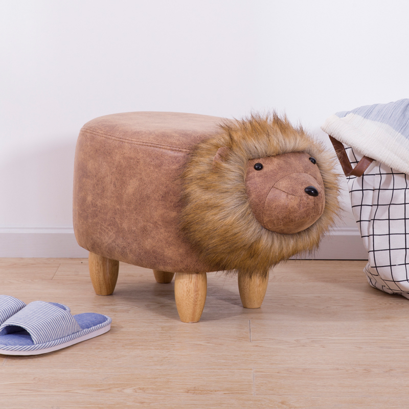 Creative lion solid wood sofa footstool storage bench home wear shoes bench