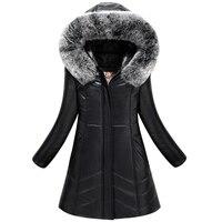 2017 zima kobiety żakiet plus size L-8XL ciepłe znosić wełny skóry kurtka slim był cienki gruby parka kobiet jaqueta de couro Długi