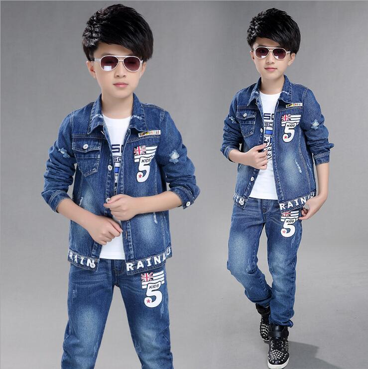 Boy s Clothes Autumn 2016 Jean Jacket Suit Kinderkleding Jongens New Flag Pattern Classic Pants Nrormal Childrens Sports Suits