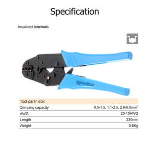 Image 5 - Alicates de crimpado de colores, conectores de terminales de cable aislados profesionales, herramienta de crimpado de trinquete para 22 10AWG LY 03C/HS 30J