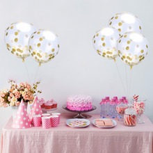 12 inches Transparent Balloons Gold Glitter Confetti Holiday Birthday party Student Dance Wedding room decoration Latex balloons