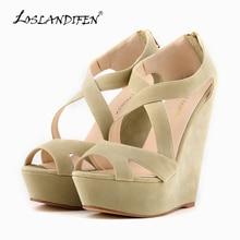 LOSLANDIFEN Fashion Ladies Pumps Velvet Platform Peep Toe High Heels Shoes Wedges Pumps For Women Wedding Shoes 391-10VE