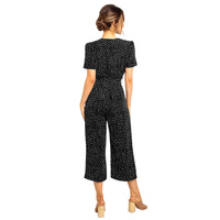Elegant Jump Suits for Women Polka Dot Wide Legs Dungarees V Neck Button Front Short Sleeves Crop Casual Playsuit female Rompers