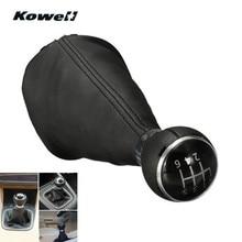Palanca de cambio de engranaje de transmisión Handbook de 6 velocidades de cuero KOWELL para Volkswagen VW TOURAN 03-10/CADDY II 2 MK2 04-09 bota gaater