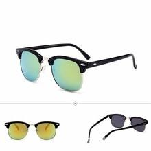 Gafas De Sol Mujer UV400 Round Man Sunglasses Vintage Retro Fashion Polarized Women Brand Designer Half Alloy Frame