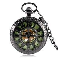 Mode Nummers Leuke Muis Zwart Zakhorloge Chic Lichtgevende Mechanische Hand Wind Pocket & Fob Horloges Groothandel Horloge Klok