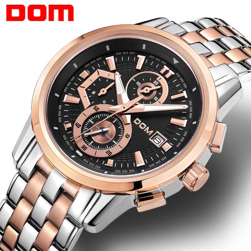 DOM sports watch man  fashion  quartz  military chronograph wrist watches men army style M-6033 braun chronograph sports watch