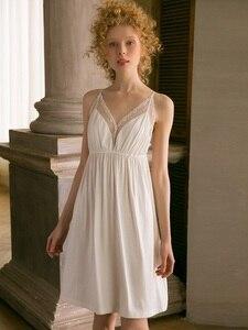 Image 3 - Sexy Modal V neck White Lace Nightgowns Womens White Cotton Sleeveless Sleepwear Loose Nightwear