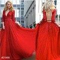 2017 Красный-Line Вечерние Платья с Аппликациями Бусы Глубокий V-образный Вырез Hollow Вернуться Пояса Бальные Платья Три Четверти Рукавами халат
