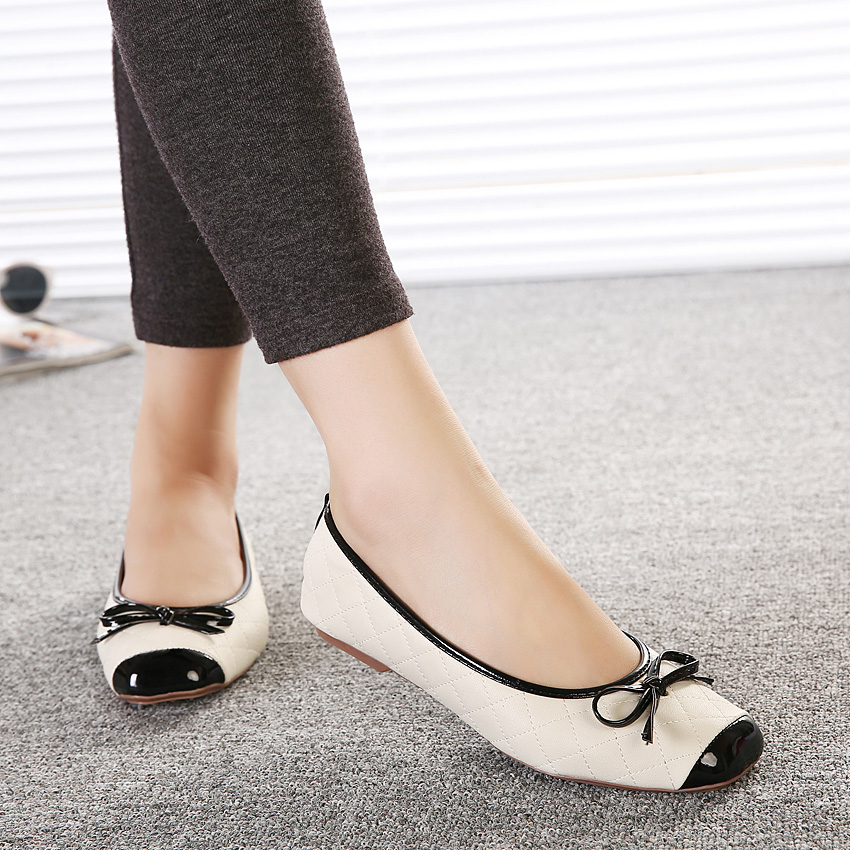 Famous Brand Woman Flats Plaid Ladies Loafers Japanned