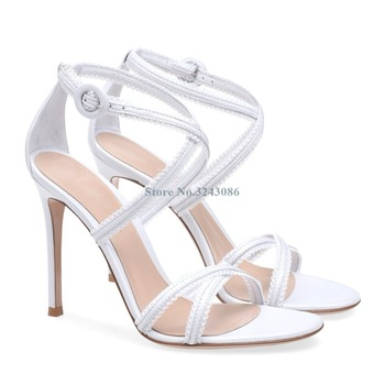 White Black Leather Ruffles Thin High Heel Sandals Narrow Band Buckle Strap Stiletto Heel Sandals Basic Cross Tie Sandals