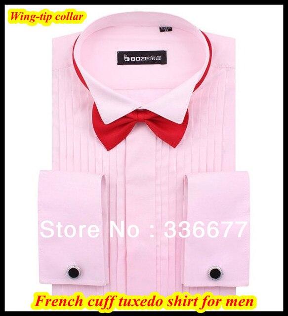 Бесплатная доставка 2013 Свадьба одежда мужская смокинг платье виндзор крыло-наконечник воротник розовый мужская рубашка XS, S, M, L, XL, XXL, XXXL QR-1170