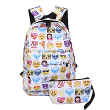 2Pcs/set 3D Smiley Emoji Backpack Canvas Cute  Printing Bag School Bags For Teens Waterproof Mochila