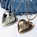 Moda Collar de Medallón Corazón Chapado En Oro cadena de la bola con el patrón de flor locket de la foto caja de la foto colgante Necklace26x28mm 17 Pulgadas