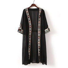 L231 Fashion Womens Black white color Geometric Embroidery Ethnic Shirt Cardigan summer sunscreen Kimono Blouses(China)