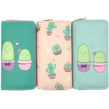 KANDRA Summer Cactus Plant Printing Women Long Wallet Fashion PU Leather Coin Purse Phone Case Ladies Card Holder Clutch Bag kandra fashion plain pu leather heart charms women wallet long clutch card holder coin purse vegan zippered wallet 2019