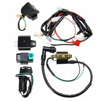 High Quality For 50cc 110cc 125cc PIT Quad Dirt Bike ATV CDI Wiring Harness Loom Ignition Solenoid Coil Rectifier 1 Set