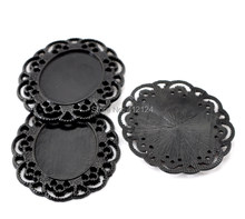 5Pcs Cabochon Cameo Frame Settings Oval Flower Lace Zinc Metal Black For Charms Decoration 40x35mm Fit 25x18mm