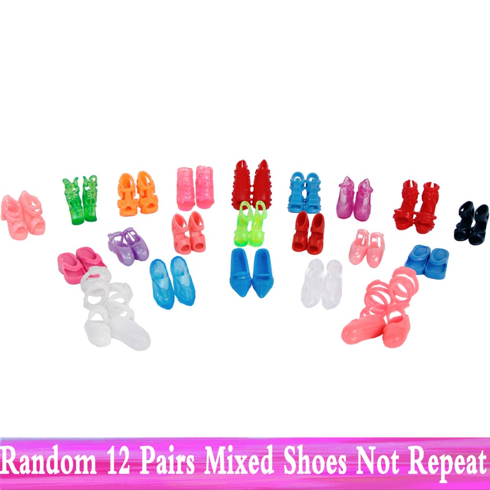 Random 12 Pairs Assorted Fashion Colorful Mixed Style Sandals High Heels Shoes For Barbie Doll Accessories Clothes Dress Kid Toy random 12 pcs mixed sorts barbie doll fashion clothes beautiful handmade doll party dress for barbie dolls girl gift kid s toy