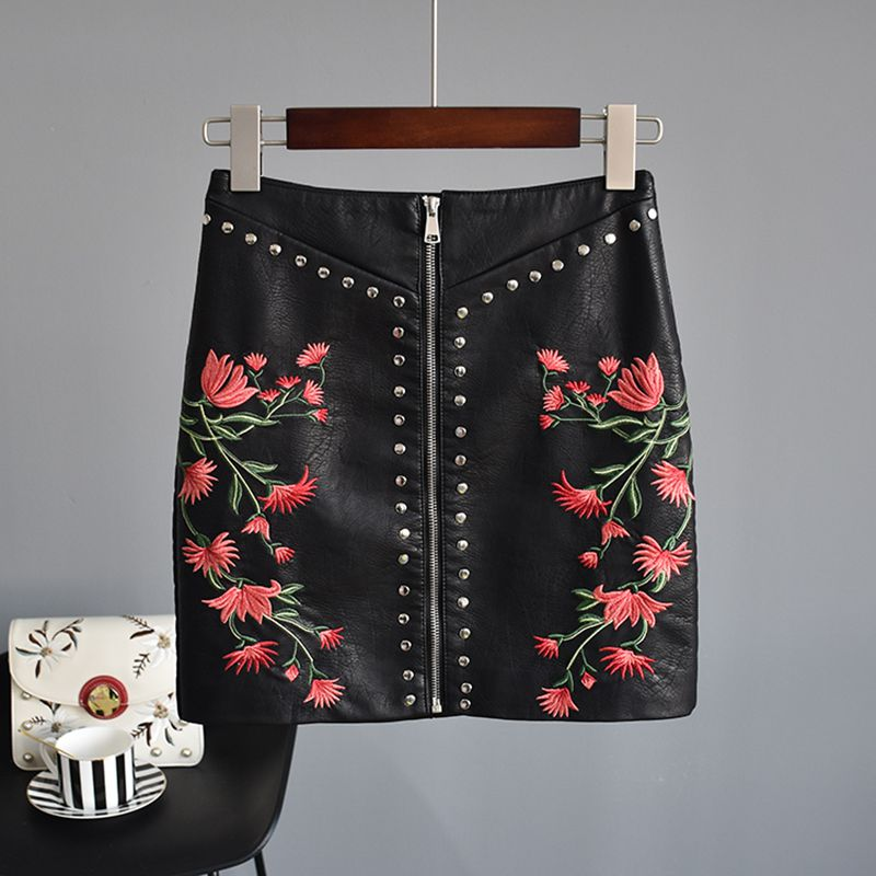 2018 Hot Sale Above Knee, Mini Natural Skirts Long Skirt Lolita New A Word Skirt Hip High Waist Embroidery Small Leather Female