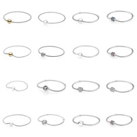 16 Style 925 Sterling Silver Bangles Charms Flower Heart Crystal Snake Chain Bracelets Bangles for Women Beads & Pendant