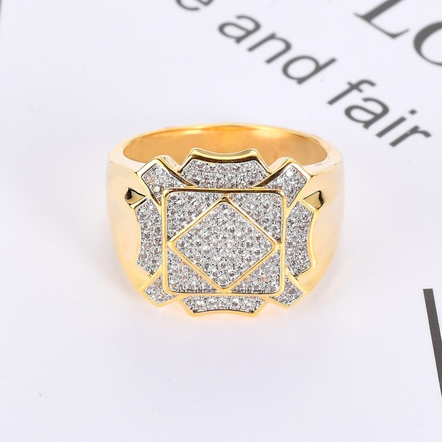 Hip Hop AAA Cubic Zirconia Iced Out Geometric Square Ring Bling Bling CZ Rings Men Women Jewelry Gold Silver Drop Shipping