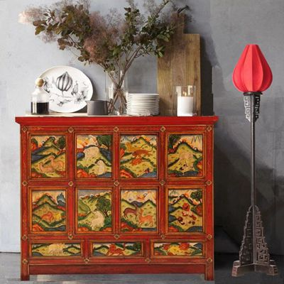 New Chinese Tibetan Hand Painted Classic Wood Furniture Painted Cabinet  Entrance Cabinet Sideboard Tibet Story