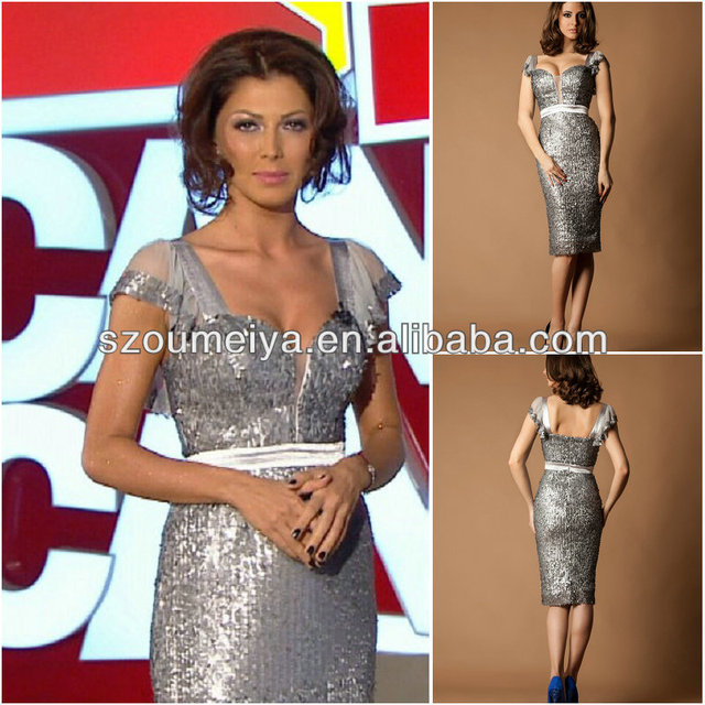 a837c7c6ad52c US $139.0 |Free Shipping OUMEIYA OEE777 elegant knee length cap sleeve  silver/brown bling bling cocktail dress 2014-in Cocktail Dresses from  Weddings ...