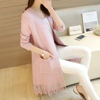 Maternity New Winter Tassel Sweater In Long Pure Color Knit Cardigan Han Edition