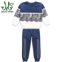 Kids Clothes Sport Suit For Girls Clothing Sets 12 10 Year Children Clothing 2018 Autumn Winter Lace Patchwork T shirt+Pant 2Pcs