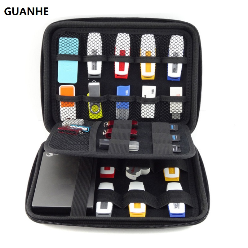 GUANHE BIG SIZE USB Drive Organizer Electronics Accessories Case  / Hard Drive Bag  22*16*4.5cm USB Flash Drive Case Bag