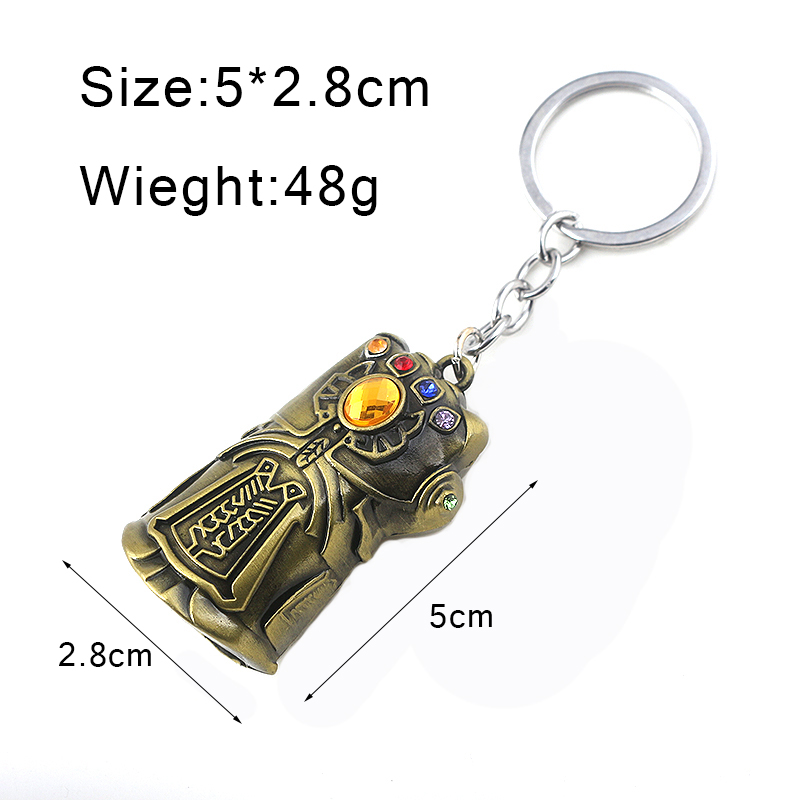 Image 3 - RJ Hot Sale 10Pcs/Lot Avengers 3 Thanos Series Mask Infinite Power Gauntlet Keychains Thor Hammer Men Boys Alloy Keyring Gift-in Key Chains from Jewelry & Accessories