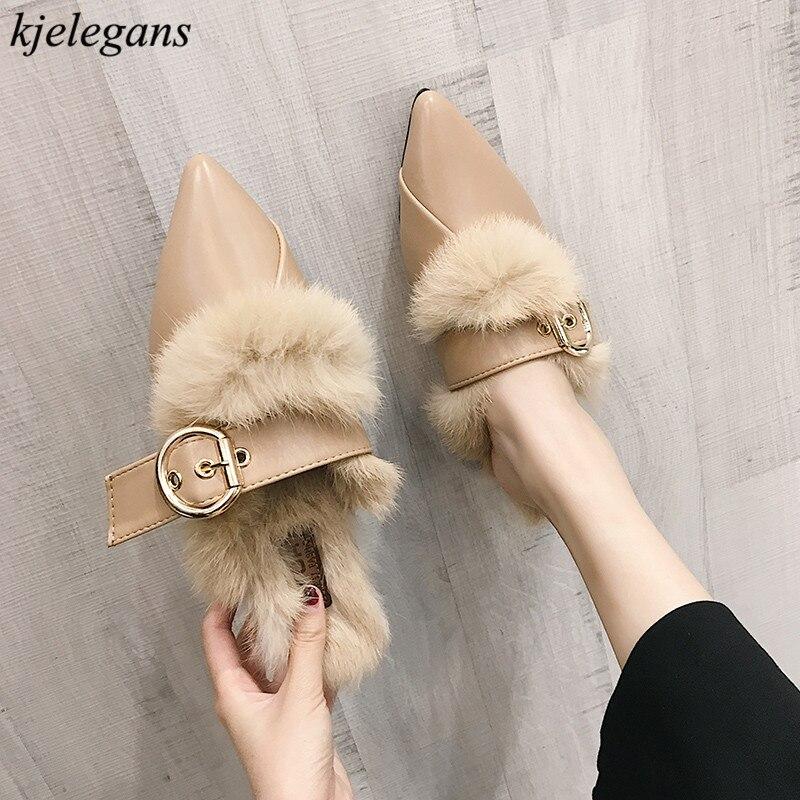 À kaki Zapatillas Boucle marron Kjelegans Pointu Feminino 2018 Pantoufles Noir Mujer Sapato Dames Haute Mules Appartements Femmes Qualité Fourrure Bout wnZXHZ1qU