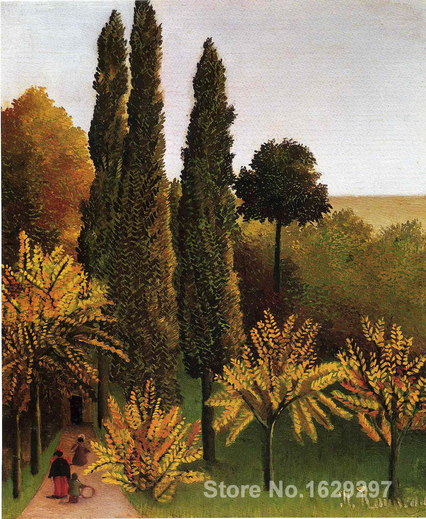 Walking in the Parc des Buttes Chaumont by Henri Rousseau Canvas art Painting High quality Hand painted